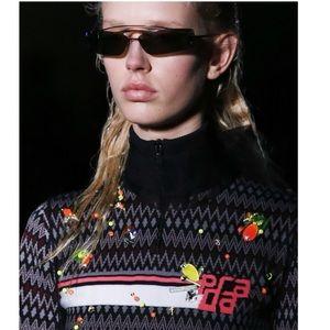 Prada Fashion Week 2018 Rectangle Sunglasses Black